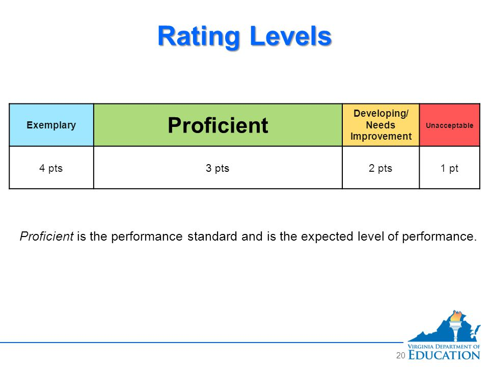 Rating Levels Exemplary Proficient Developing/ Needs Improvement Unacceptable 4 pts3 pts2 pts1 pt Proficient is the performance standard and is the expected level of performance.