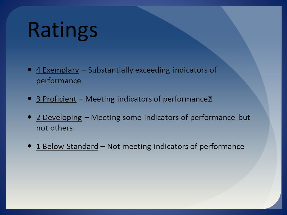 Ratings 4 Exemplary – Substantially exceeding indicators of performance 3 Proficient – Meeting indicators of performance 2 Developing – Meeting some indicators of performance but not others 1 Below Standard – Not meeting indicators of performance