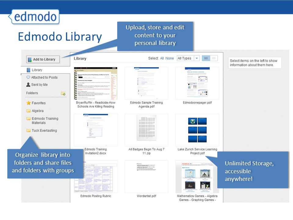 Edmodo Library Unlimited Storage, accessible anywhere.