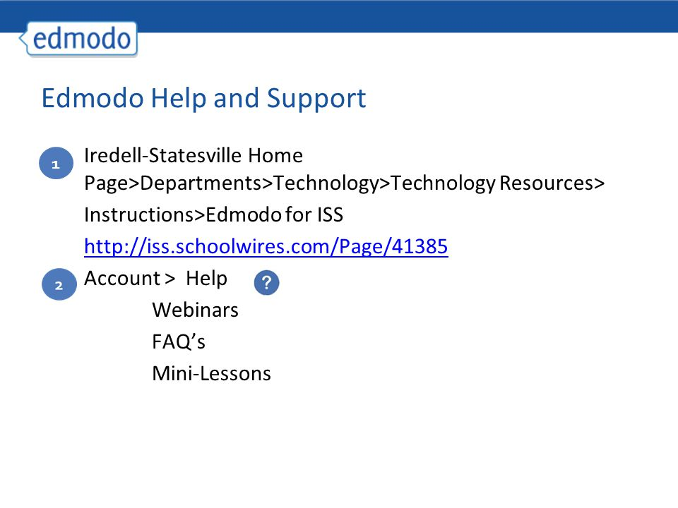 Iredell-Statesville Home Page>Departments>Technology>Technology Resources> Instructions>Edmodo for ISS   Account > Help Webinars FAQ's Mini-Lessons 1 Edmodo Help and Support