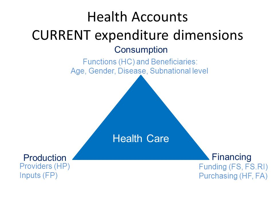 Health Care Consumption Production Financing Functions (HC) and Beneficiaries: Age, Gender, Disease, Subnational level Funding (FS, FS.RI) Purchasing (HF, FA) Providers (HP) Inputs (FP) Health Accounts CURRENT expenditure dimensions