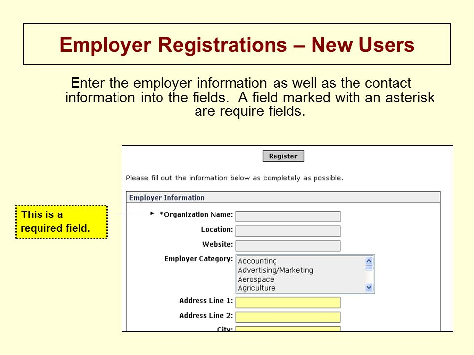 Enter the employer information as well as the contact information into the fields.