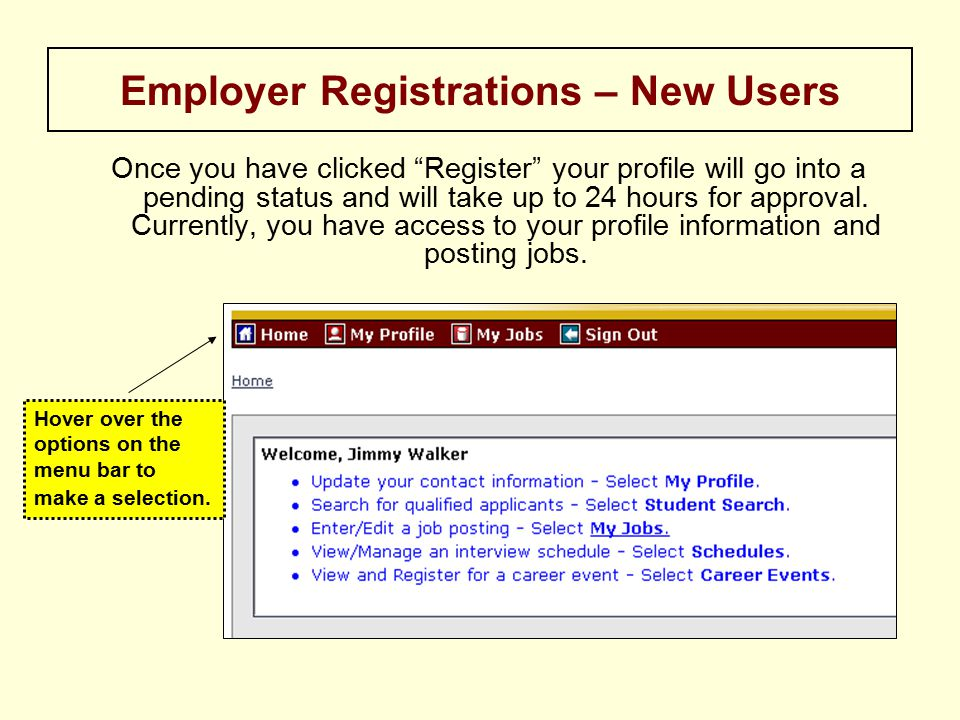 Once you have clicked Register your profile will go into a pending status and will take up to 24 hours for approval.
