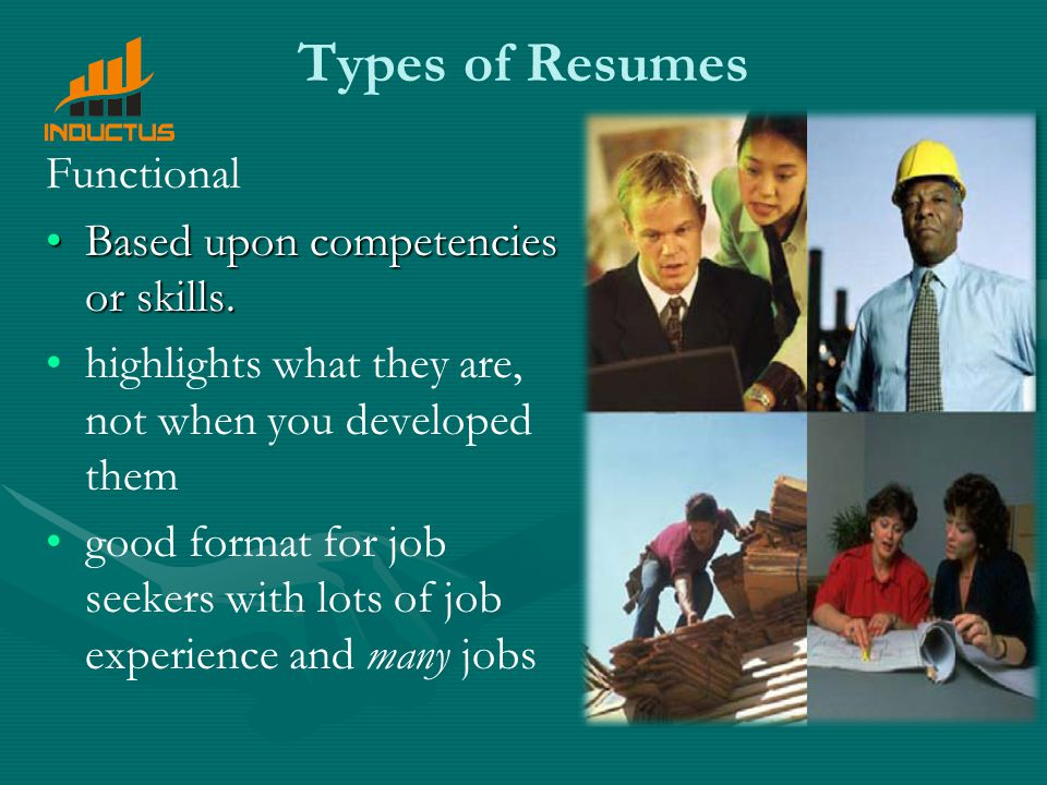 Types of Resumes Functional Based upon competencies or skills.Based upon competencies or skills.