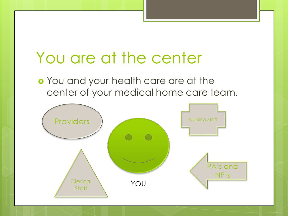You are at the center  You and your health care are at the center of your medical home care team.