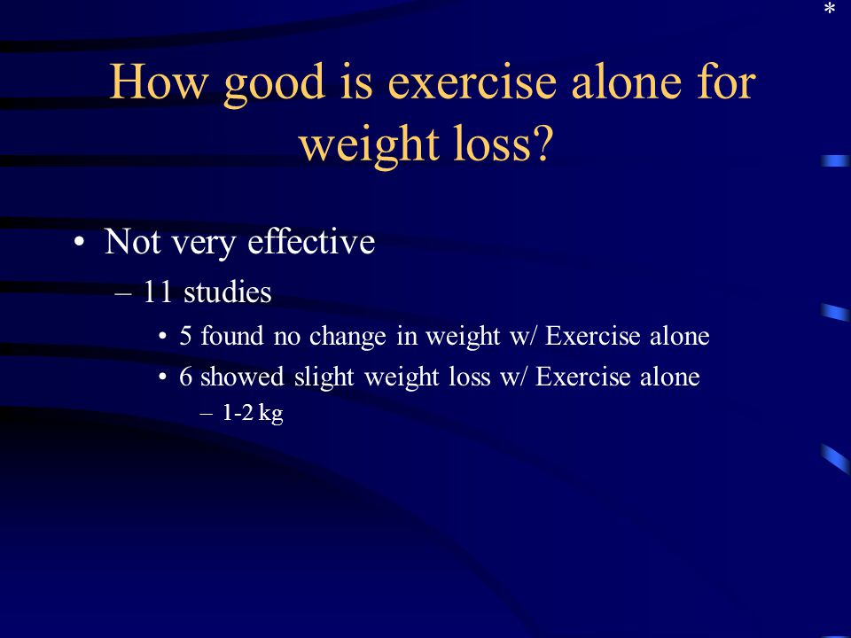 How good is exercise alone for weight loss.