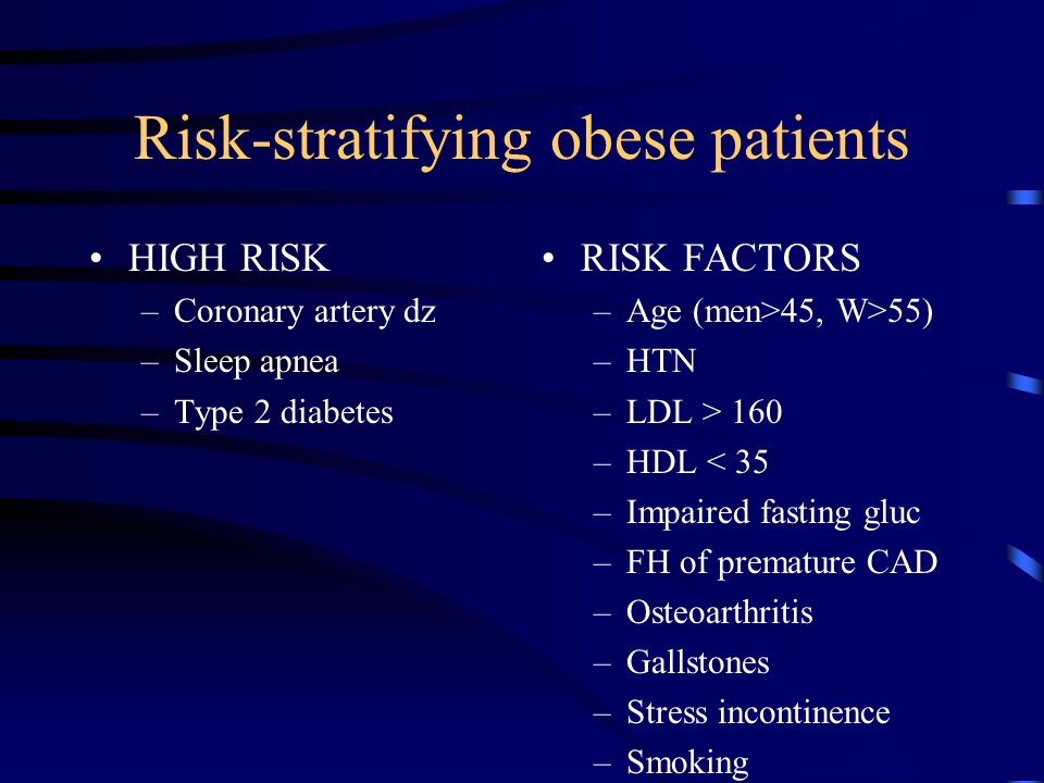 Risk-stratifying obese patients HIGH RISK –Coronary artery dz –Sleep apnea –Type 2 diabetes RISK FACTORS –Age (men>45, W>55) –HTN –LDL > 160 –HDL < 35 –Impaired fasting gluc –FH of premature CAD –Osteoarthritis –Gallstones –Stress incontinence –Smoking