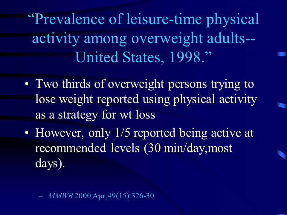 Prevalence of leisure-time physical activity among overweight adults-- United States, 1998. Two thirds of overweight persons trying to lose weight reported using physical activity as a strategy for wt loss However, only 1/5 reported being active at recommended levels (30 min/day,most days).