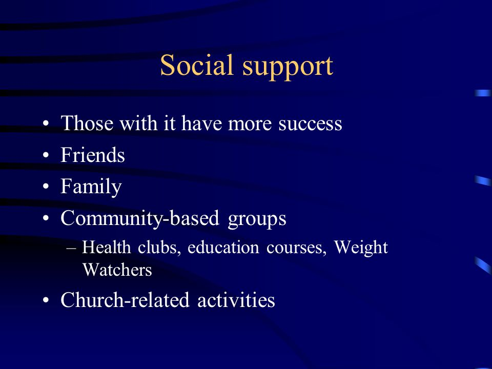 Social support Those with it have more success Friends Family Community-based groups –Health clubs, education courses, Weight Watchers Church-related activities