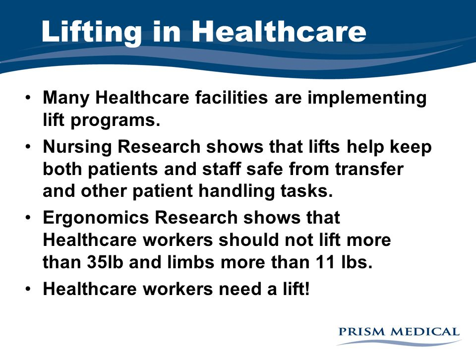 Lifting in Healthcare Many Healthcare facilities are implementing lift programs.