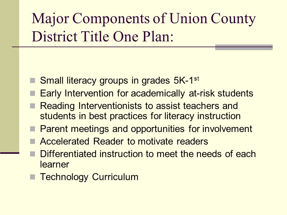 Major Components of Union County District Title One Plan: Small literacy groups in grades 5K-1 st Early Intervention for academically at-risk students Reading Interventionists to assist teachers and students in best practices for literacy instruction Parent meetings and opportunities for involvement Accelerated Reader to motivate readers Differentiated instruction to meet the needs of each learner Technology Curriculum