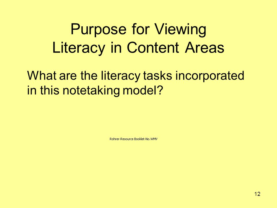 Purpose for Viewing Literacy in Content Areas What are the literacy tasks incorporated in this notetaking model.