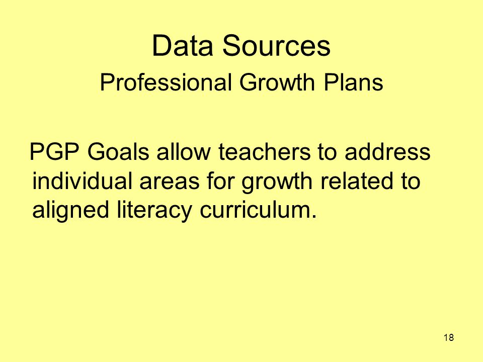 Data Sources Professional Growth Plans PGP Goals allow teachers to address individual areas for growth related to aligned literacy curriculum.