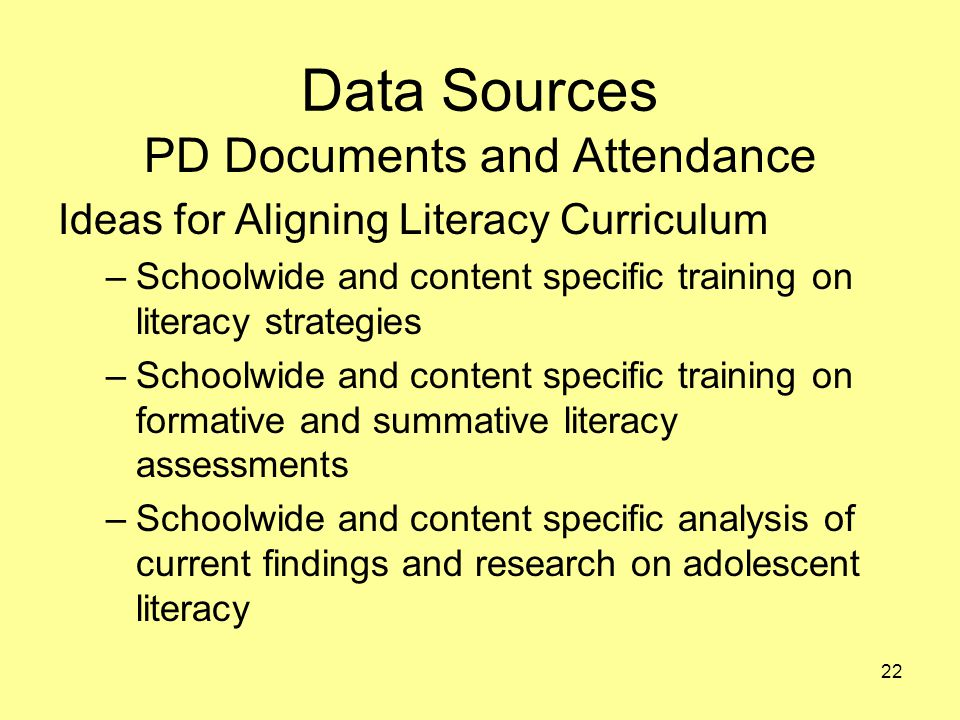 Data Sources PD Documents and Attendance Ideas for Aligning Literacy Curriculum –Schoolwide and content specific training on literacy strategies –Schoolwide and content specific training on formative and summative literacy assessments –Schoolwide and content specific analysis of current findings and research on adolescent literacy 22