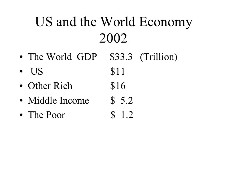 US and the World Economy 2002 The World GDP $33.3 (Trillion) US $11 Other Rich $16 Middle Income $ 5.2 The Poor $ 1.2