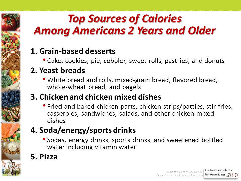 Top Sources of Calories Among Americans 2 Years and Older 1.