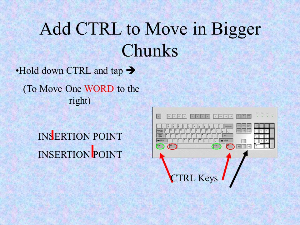 Word Moving The Insertion Point Using Arrows Moves One. 5 Add Ctrl To Move In Bigger Chunks Keys Hold Down And Tap One Word The Right Insertion Point. Worksheet. Tapped Worksheet Answer Key At Clickcart.co