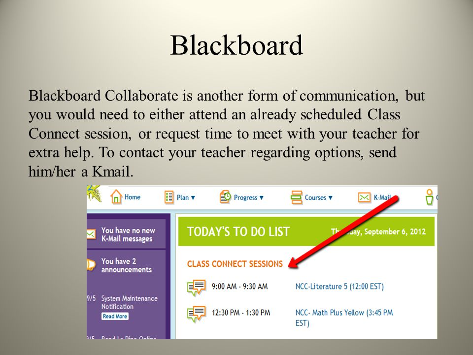 Blackboard Blackboard Collaborate is another form of communication, but you would need to either attend an already scheduled Class Connect session, or request time to meet with your teacher for extra help.