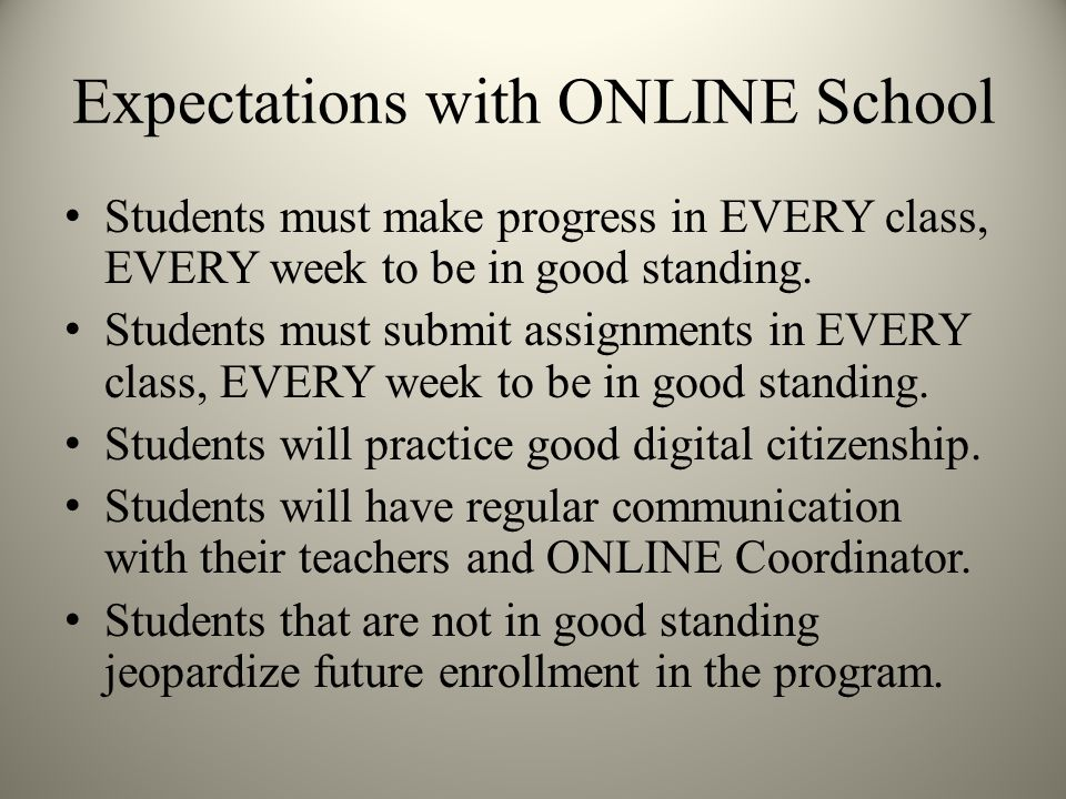 Expectations with ONLINE School Students must make progress in EVERY class, EVERY week to be in good standing.