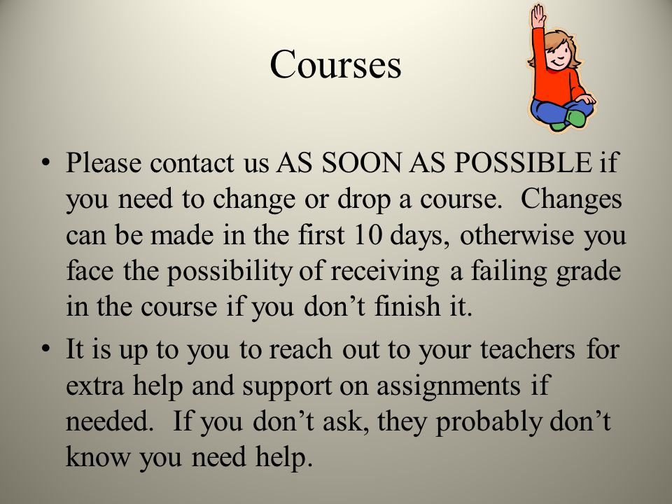 Courses Please contact us AS SOON AS POSSIBLE if you need to change or drop a course.