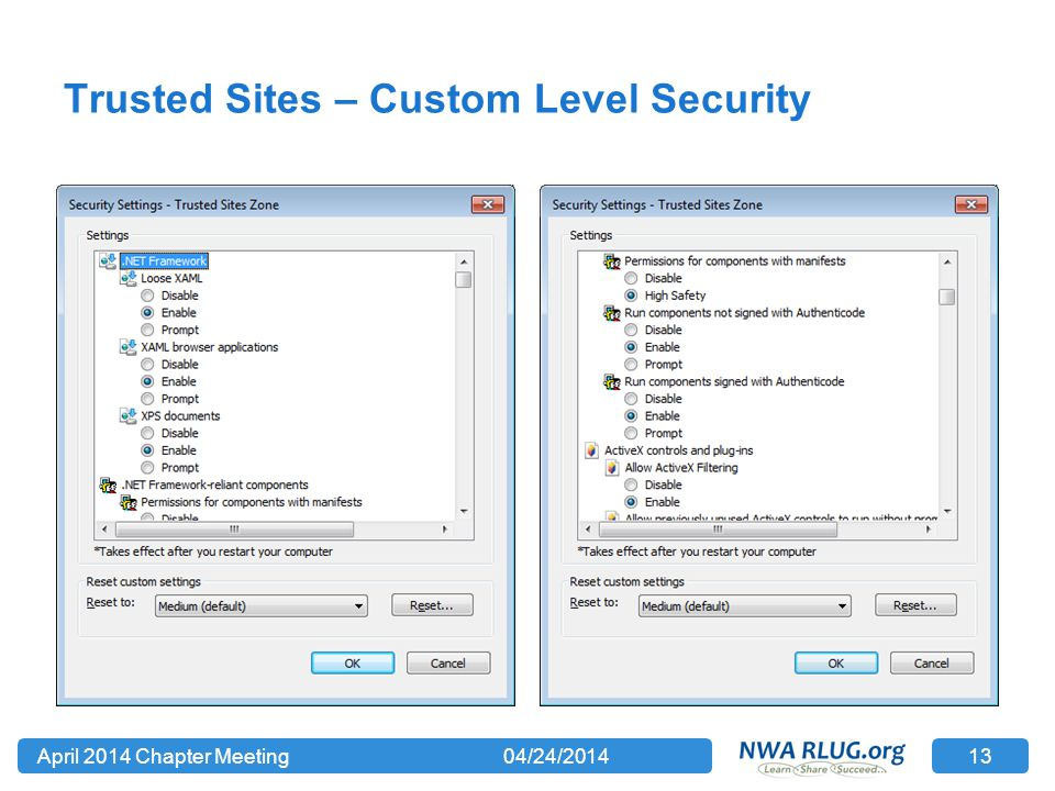 Trusted Sites – Custom Level Security 04/24/2014April 2014 Chapter Meeting 13