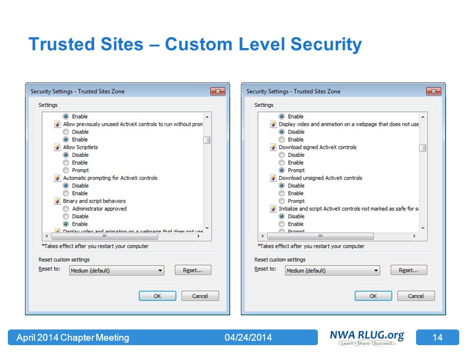 Trusted Sites – Custom Level Security 04/24/2014April 2014 Chapter Meeting 14