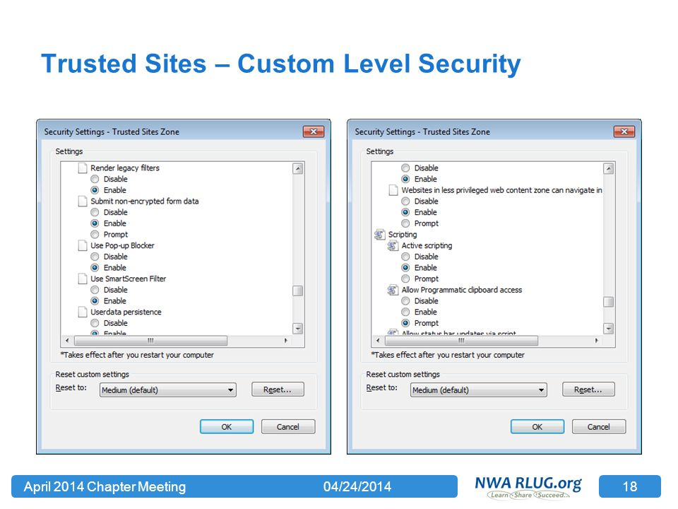 Trusted Sites – Custom Level Security 04/24/2014April 2014 Chapter Meeting 18