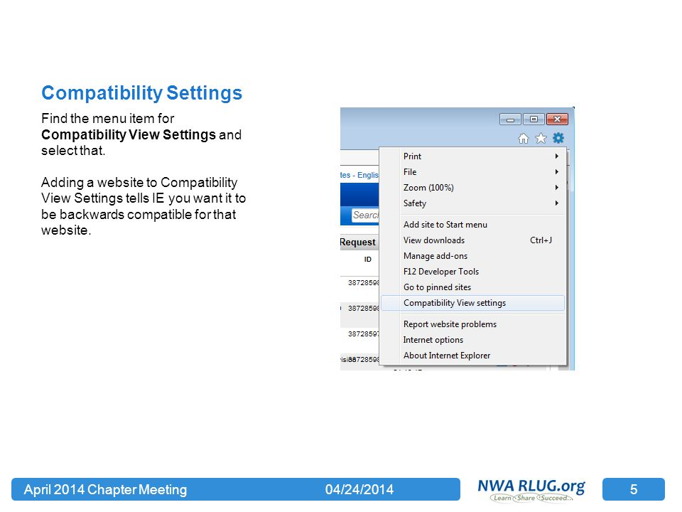 Compatibility Settings Find the menu item for Compatibility View Settings and select that.
