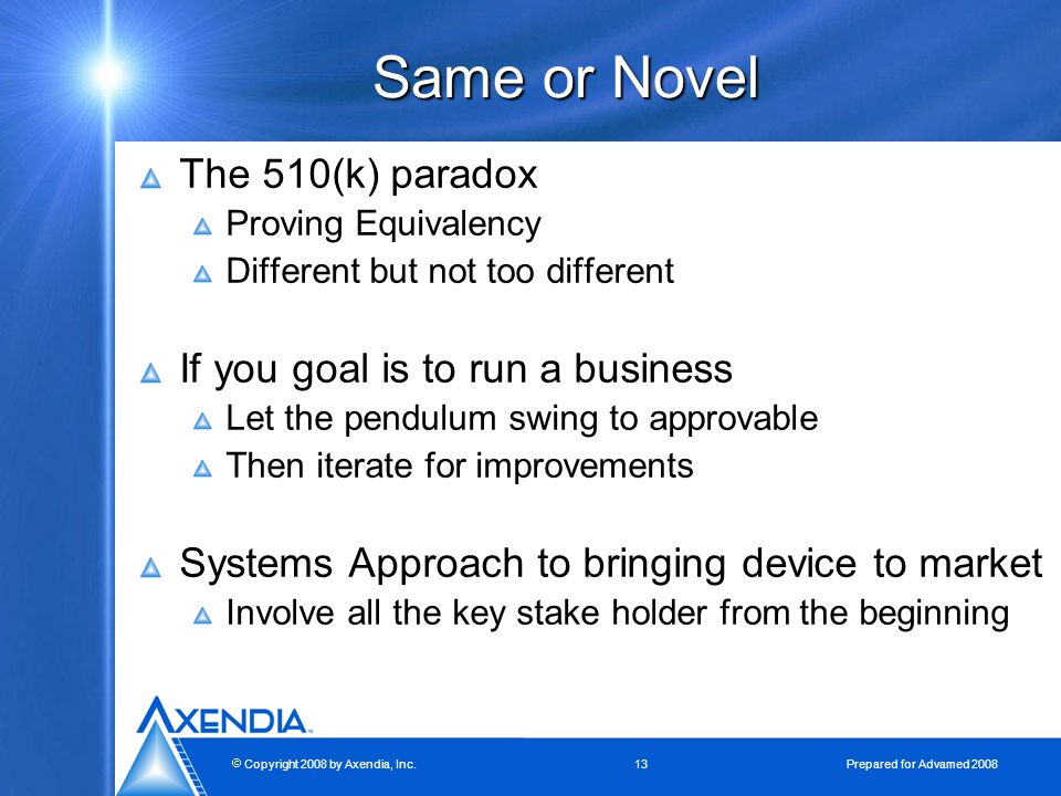  Copyright 2008 by Axendia, Inc.13 Prepared for Advamed 2008 Same or Novel The 510(k) paradox Proving Equivalency Different but not too different If you goal is to run a business Let the pendulum swing to approvable Then iterate for improvements Systems Approach to bringing device to market Involve all the key stake holder from the beginning