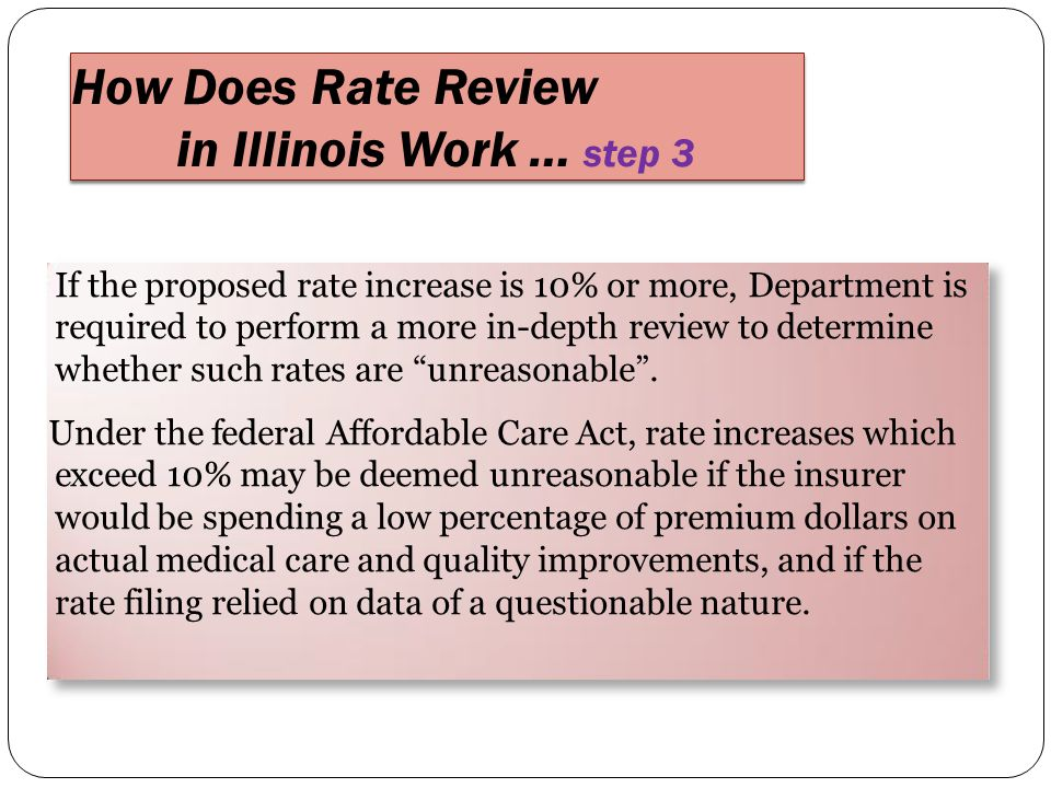 If the proposed rate increase is 10% or more, Department is required to perform a more in-depth review to determine whether such rates are unreasonable .