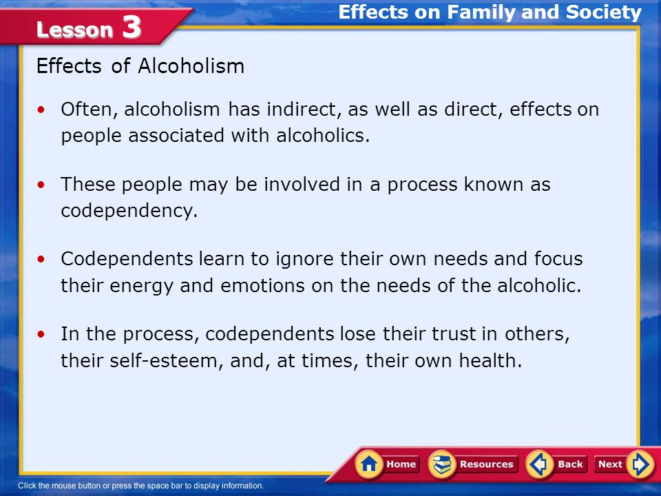 Lesson 3 Stages of Alcoholism Stage 1—Abuse: Typically, alcoholism begins with social drinking in an attempt to relax.