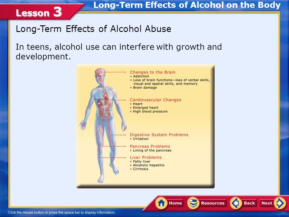 Lesson 3 Identify the goals of Healthy People 2010 to reduce risk behaviors associated with alcohol use Compare the effects of alcohol use on body systems and the risk of disease caused by alcohol use Describe the harmful effects of alcohol on a fetus List community health-related services for prevention and treatment of alcoholism and alcohol use In this lesson, you will learn to: Lesson Objectives