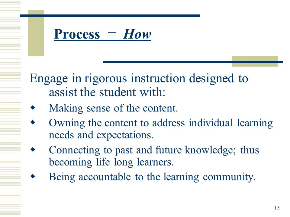 15 Process = How Engage in rigorous instruction designed to assist the student with:  Making sense of the content.