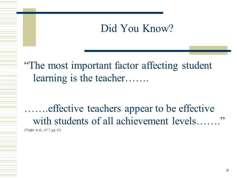 9 Did You Know. The most important factor affecting student learning is the teacher…….
