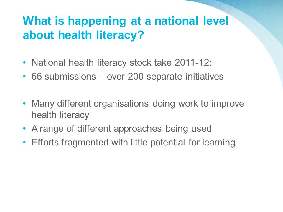 What is happening at a national level about health literacy.