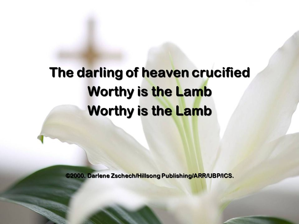 The darling of heaven crucified Worthy is the Lamb ©2000.