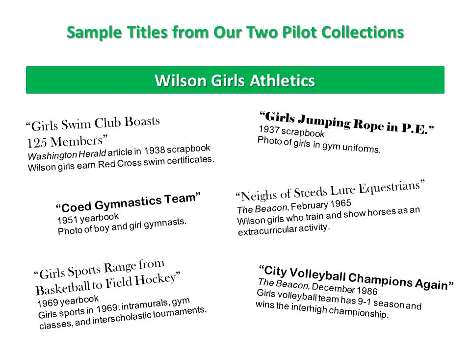Sample Titles from Our Two Pilot Collections Wilson Girls Athletics Girls Swim Club Boasts 125 Members Washington Herald article in 1938 scrapbook Wilson girls earn Red Cross swim certificates.