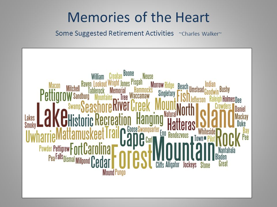 Memories of the Heart Some Suggested Retirement Activities ~Charles Walker~