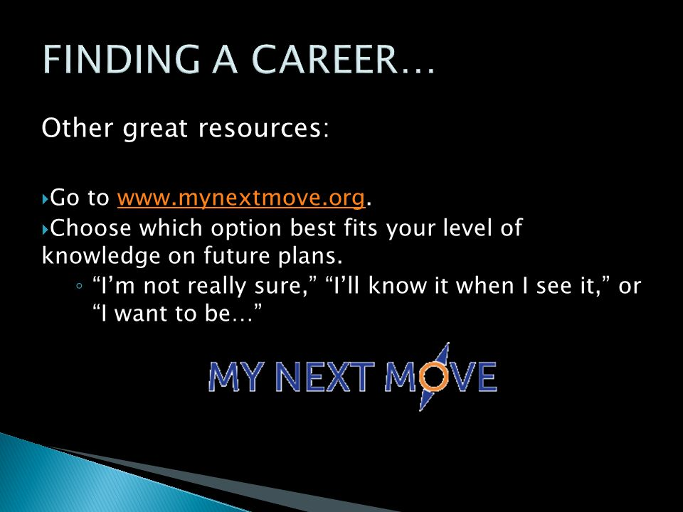 Other great resources:  Go to www.mynextmove.org.www.mynextmove.org  Choose which option best fits your level of knowledge on future plans.