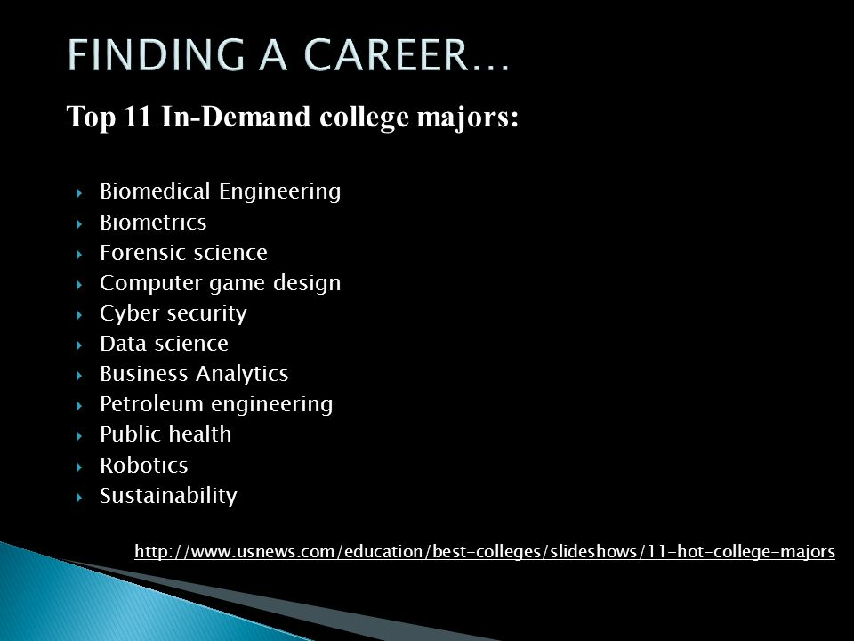 Top 11 In-Demand college majors:  Biomedical Engineering  Biometrics  Forensic science  Computer game design  Cyber security  Data science  Business Analytics  Petroleum engineering  Public health  Robotics  Sustainability http://www.usnews.com/education/best-colleges/slideshows/11-hot-college-majors