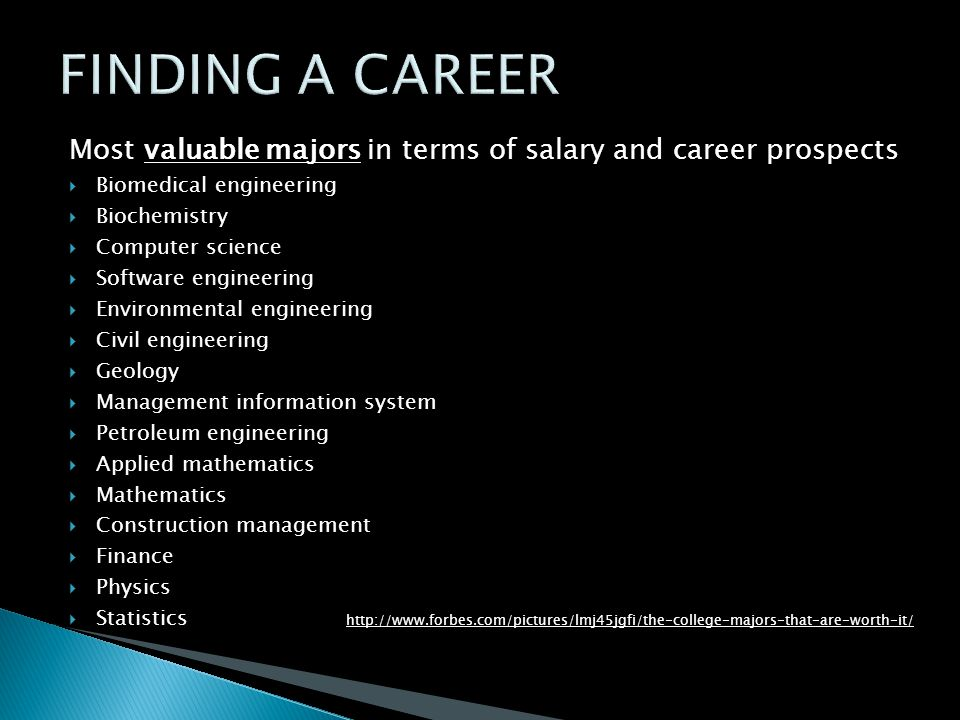 Most valuable majors in terms of salary and career prospects  Biomedical engineering  Biochemistry  Computer science  Software engineering  Environmental engineering  Civil engineering  Geology  Management information system  Petroleum engineering  Applied mathematics  Mathematics  Construction management  Finance  Physics  Statistics http://www.forbes.com/pictures/lmj45jgfi/the-college-majors-that-are-worth-it/
