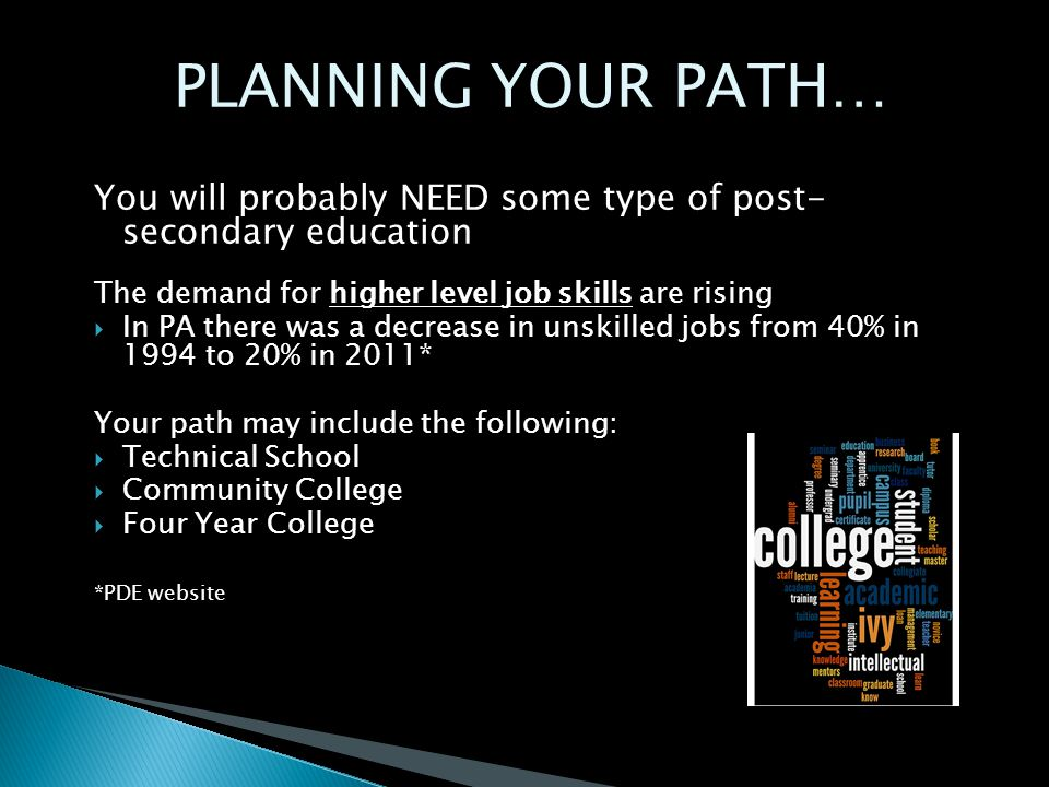 PLANNING YOUR PATH… You will probably NEED some type of post- secondary education The demand for higher level job skills are rising  In PA there was a decrease in unskilled jobs from 40% in 1994 to 20% in 2011* Your path may include the following:  Technical School  Community College  Four Year College *PDE website