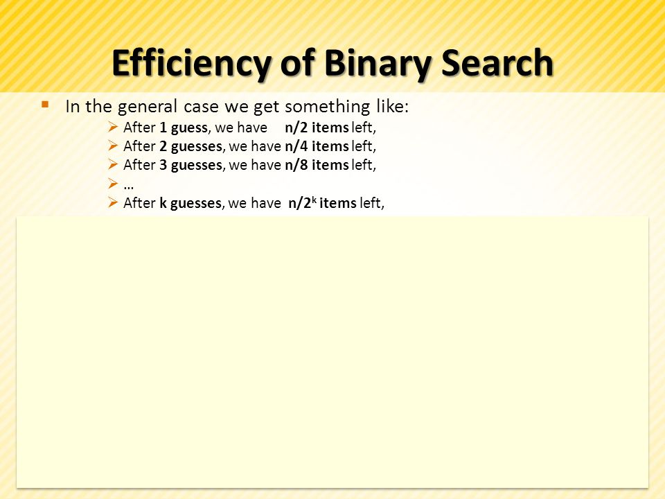 Efficiency of Binary Search