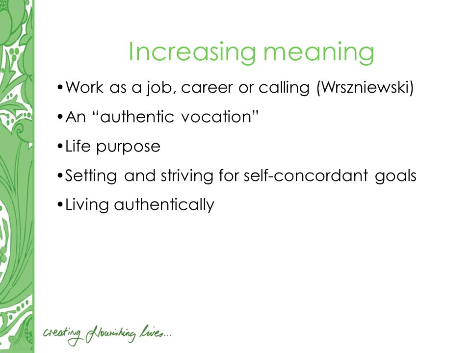 Increasing meaning Work as a job, career or calling (Wrszniewski) An authentic vocation Life purpose Setting and striving for self-concordant goals Living authentically