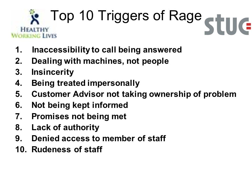Top 10 Triggers of Rage 1. Inaccessibility to call being answered 2.