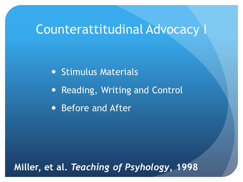 Counterattitudinal Advocacy I Stimulus Materials Reading, Writing and Control Before and After Miller, et al.