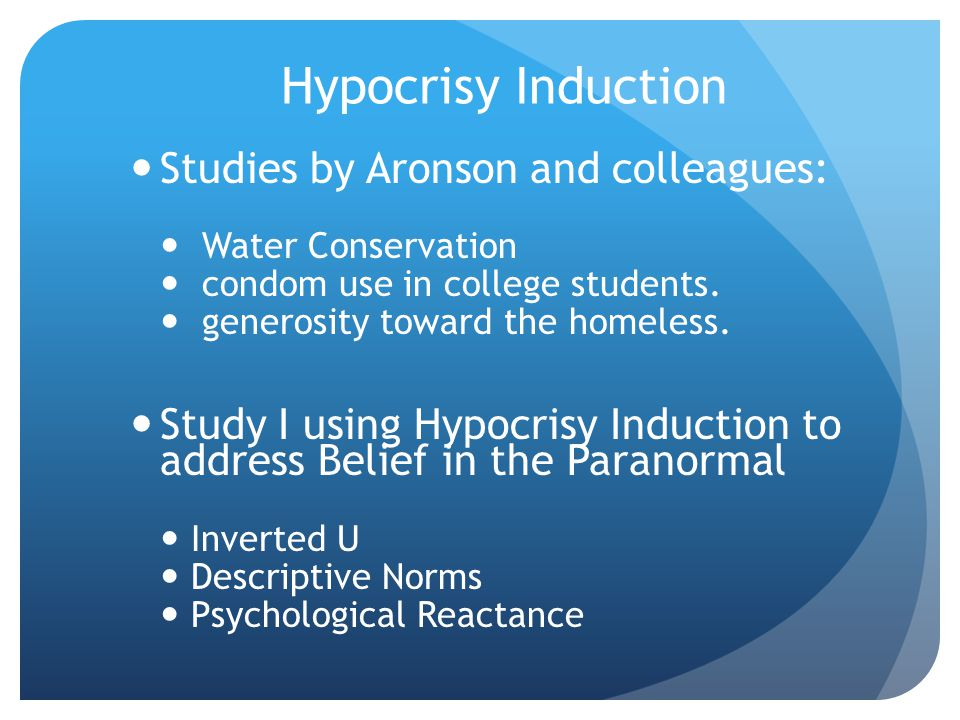 Hypocrisy Induction Studies by Aronson and colleagues: Water Conservation condom use in college students.