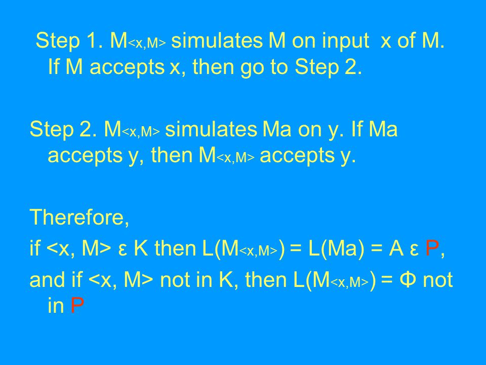 Step 1. M simulates M on input x of M. If M accepts x, then go to Step 2.