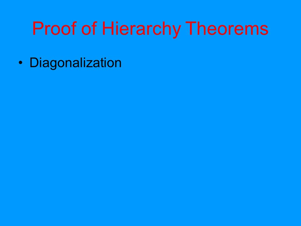Proof of Hierarchy Theorems Diagonalization