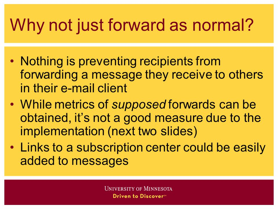 Why not just forward as normal.